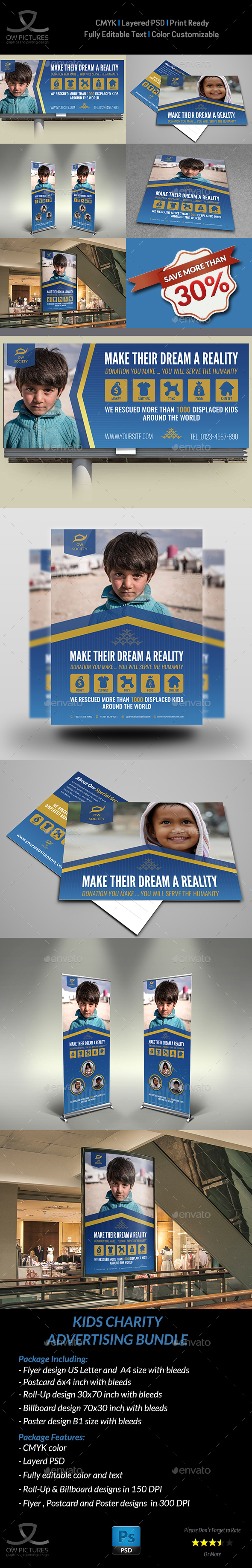 Kids Charity Advertising Bundle Vol.2 - Signage Print Templates