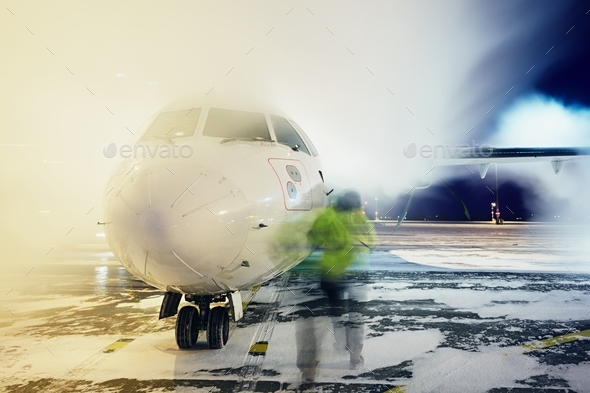 Deicing of the airplane - Stock Photo - Images