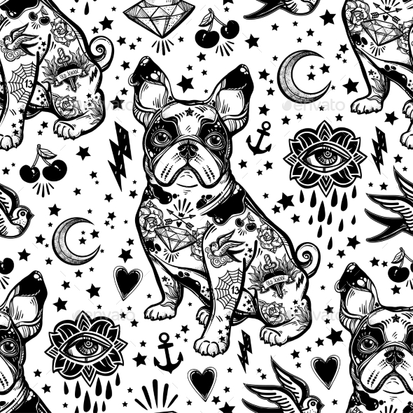 Vintage Traditional Tattoo Flash Seamless Pattern - Backgrounds Decorative
