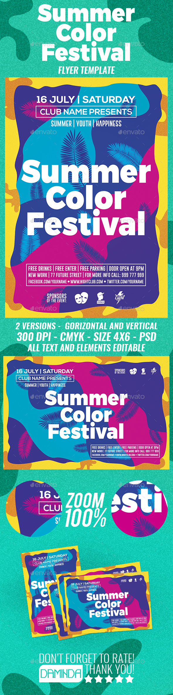 Summer Color Fest 2 Template - Clubs & Parties Events