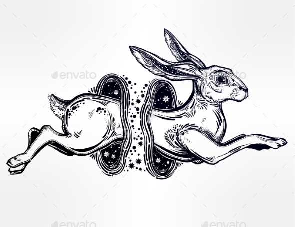 Hare or Rabbit Jumping Through the Magic Wormhole - Animals Characters