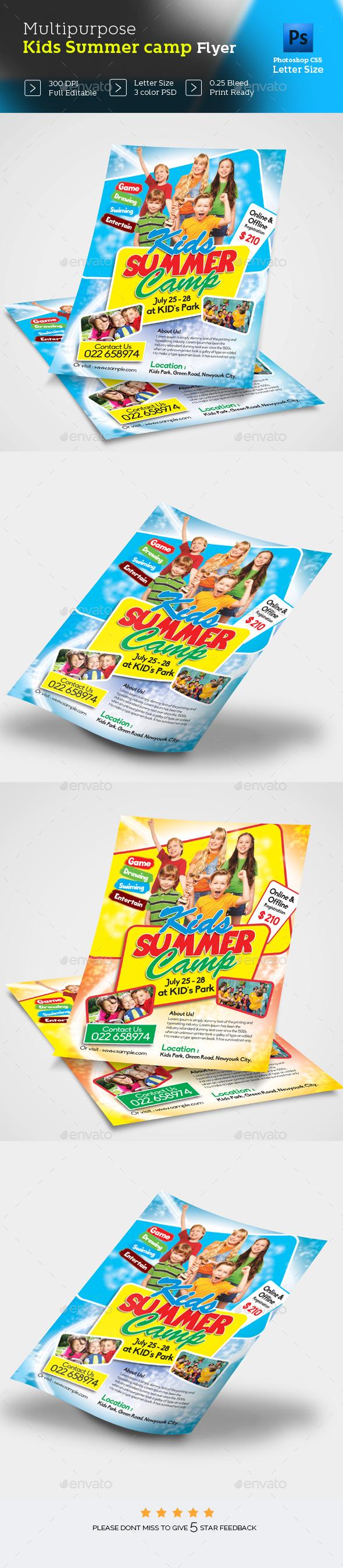 Kids Summer Camp Flyer Design - Flyers Print Templates