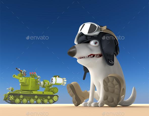 Cartoon Dog Tanker 3D Illustration - Characters 3D Renders