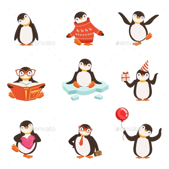 Penguin Cartoon Characters Set - Animals Characters