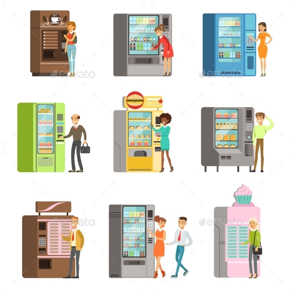 Consumers Standing Near Vending Machine and Going - Food Objects