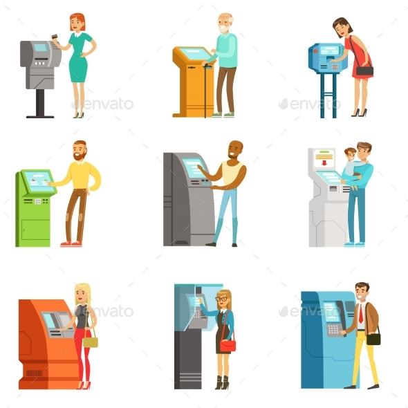 People Using Electronic Self Service Terminals - Miscellaneous Vectors
