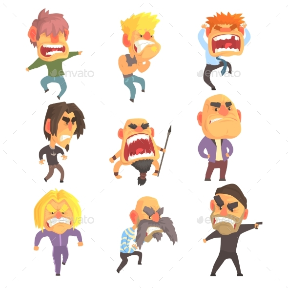 Angry Furious Men Set for Label Design - People Characters