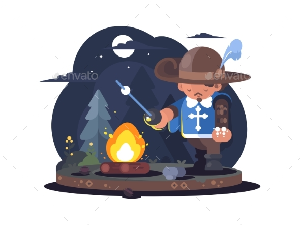 Musketeer in Hat with Feather - Miscellaneous Vectors