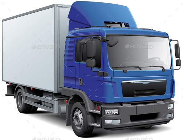 Box Truck with Blue Cabine - Man-made Objects Objects