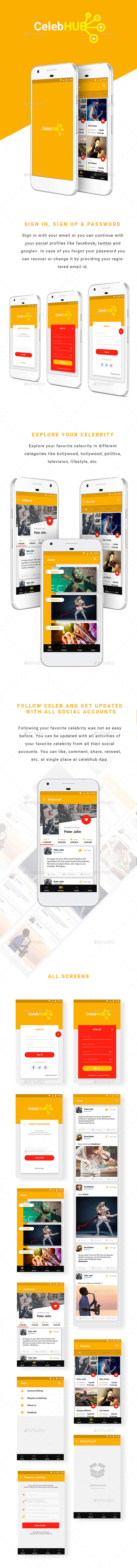 Social Media Celebrity Stream - User Interfaces Web Elements