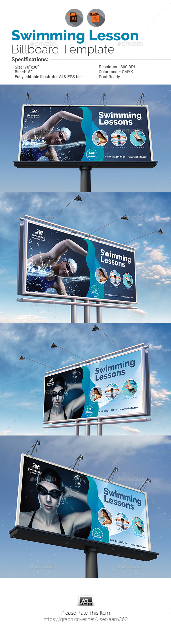 Swimming Lessons Billboard - Signage Print Templates