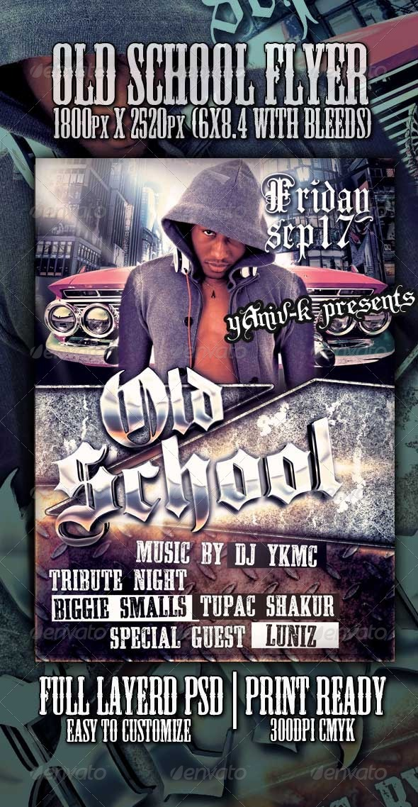Old School Flyer Template - Clubs & Parties Events