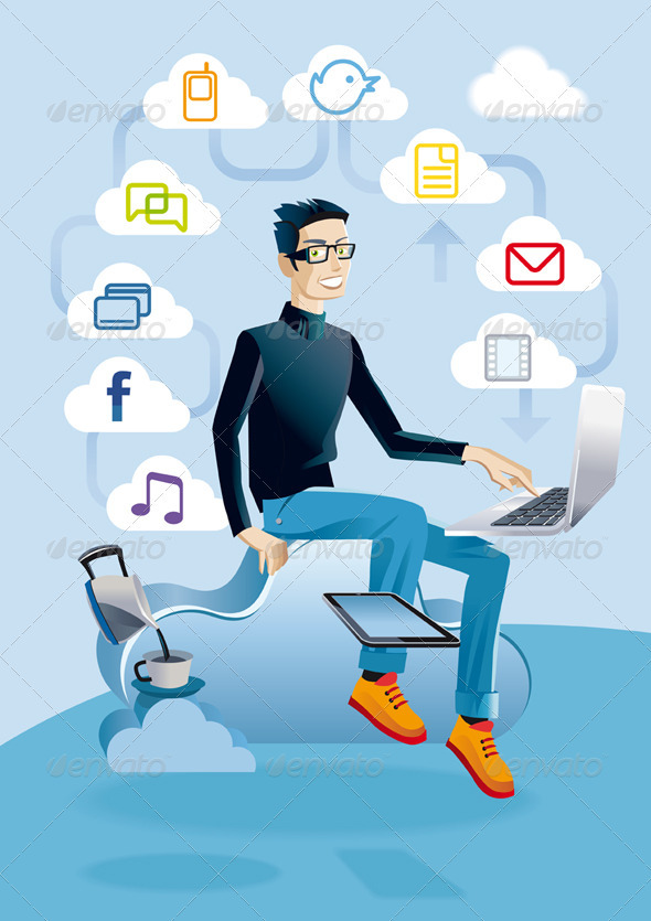 Cloud Computing Man With Laptop - Web Technology