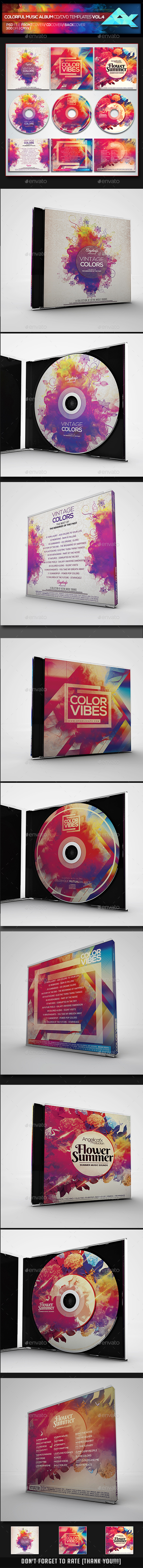 Colorful CD/DVD Album Covers Bundle Vol. 4 - CD & DVD Artwork Print Templates