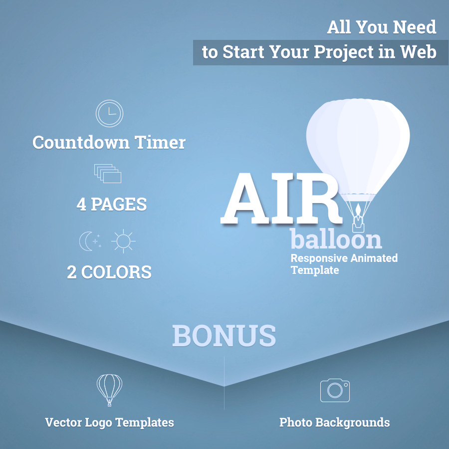 airballoon animated responsive coming soon and error 404 html5