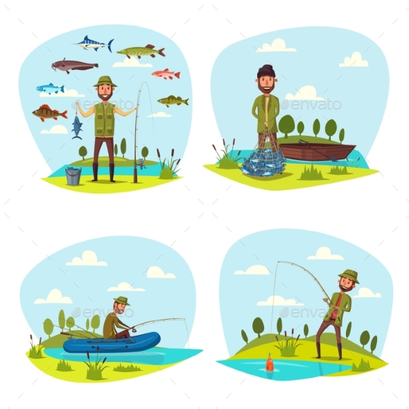 Fisher Man Fishing Vector Big Fish Catch - Sports/Activity Conceptual