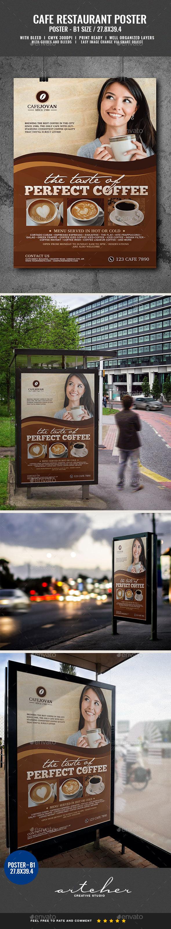 Cafe Restaurant Poster - Signage Print Templates