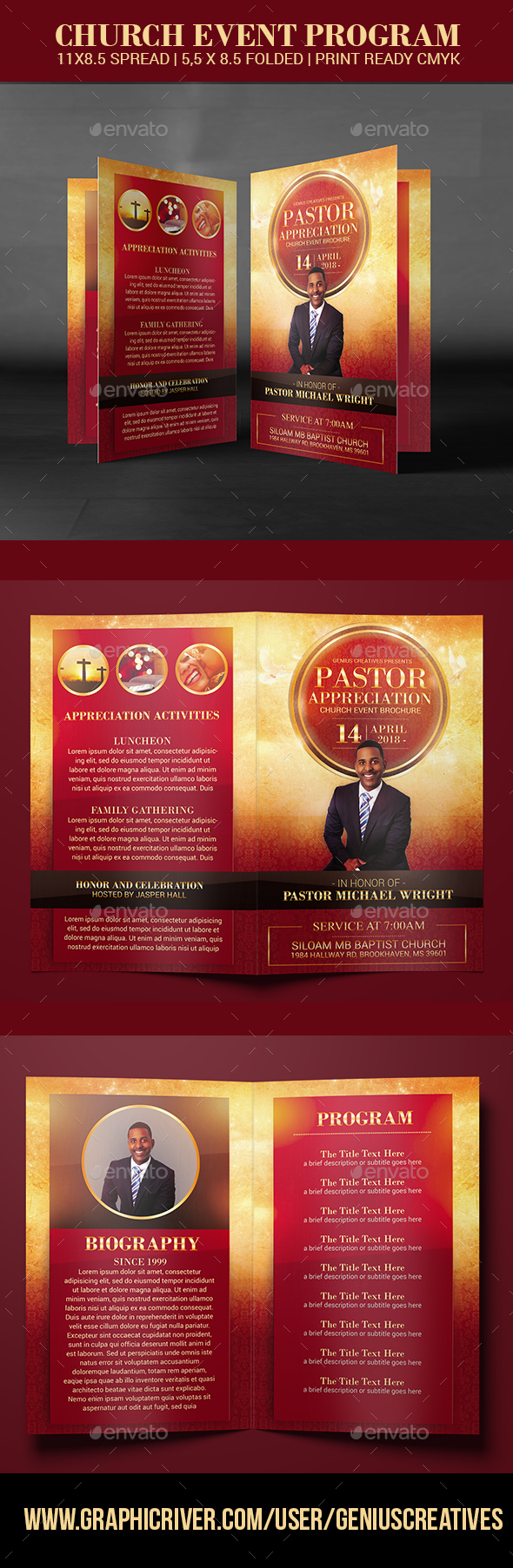 Pastor Appreciation Church Event program - Brochures Print Templates