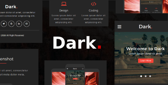 Dark - Multipurpose Mobile Template - Mobile Site Templates