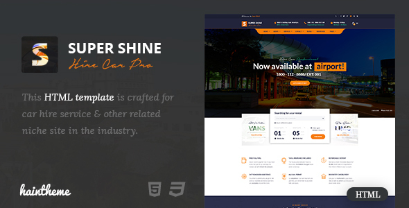 Supershine – Car Rental HTML Template
