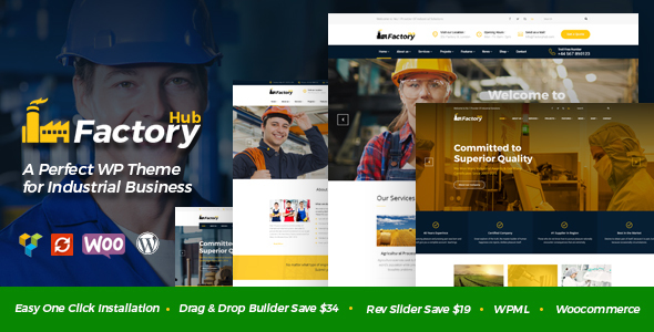 Factory HUB – Industry / Factory / Engineering and Industrial Business WordPress Theme