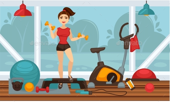 Girl Doing Physical Exercises with Dumbbells - Sports/Activity Conceptual