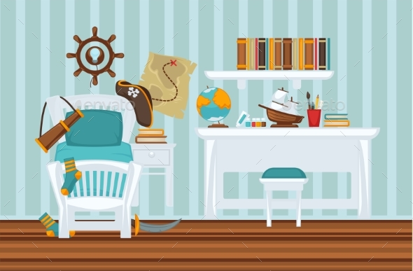 Boy's Room in Pirate Style Colorful Flat - Objects Vectors