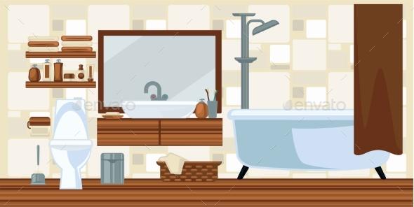 Bathroom Interior Colorful Vector Illustration - Objects Vectors