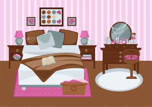 Bedroom for Girl in Pink Colors Flat Illustration - Buildings Objects
