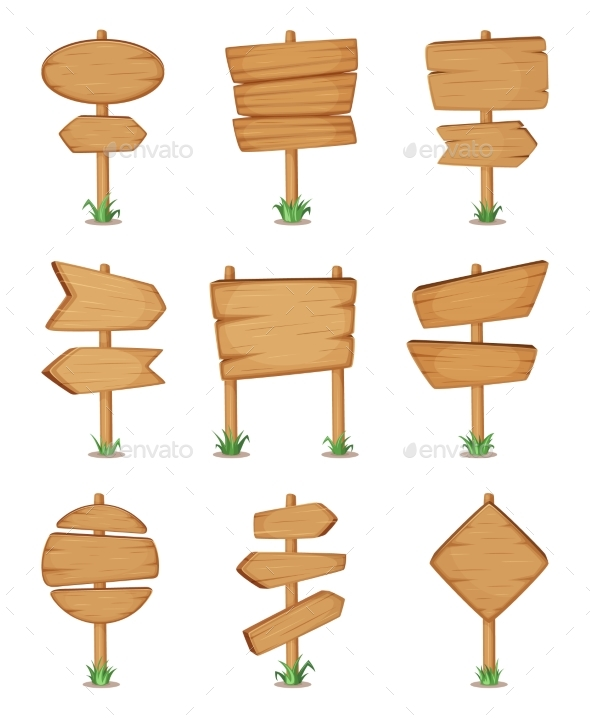 Empty Wooden Round and Square Signpost Standing - Objects Vectors