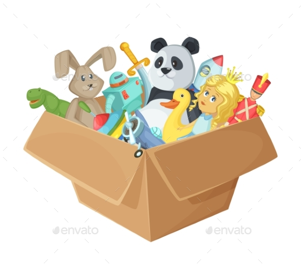 Children Toys in Cardboard Box - Man-made Objects Objects