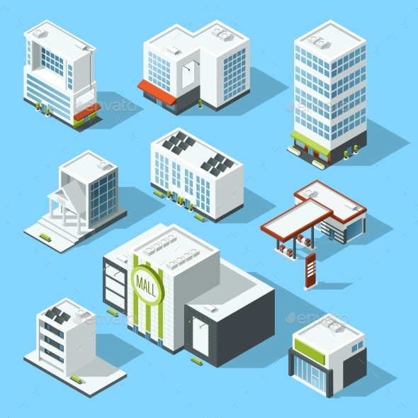 Vector Isometric Illustrations of Hypermarket - Buildings Objects