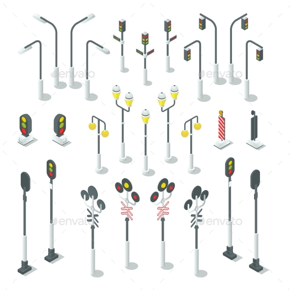 Isometric Traffic Light, Street Lamps. - Objects Vectors