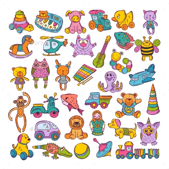 Color Icons of Children Toys. Hand Drawn Vector - Objects Vectors