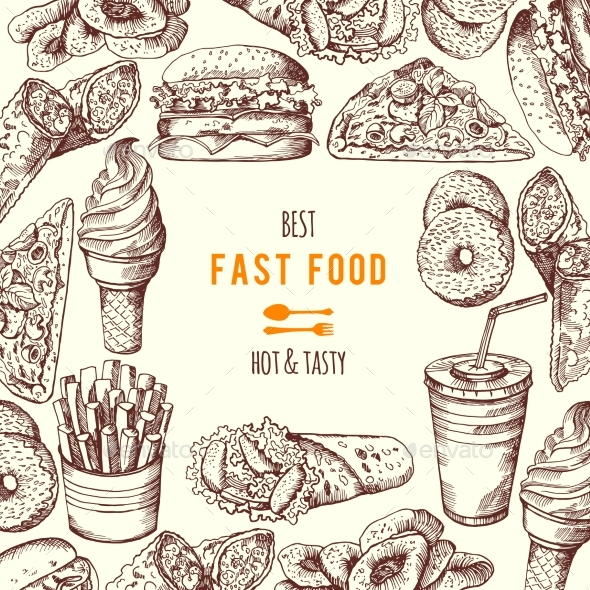 Hand Drawn Fast Food Background Illustration - Miscellaneous Vectors