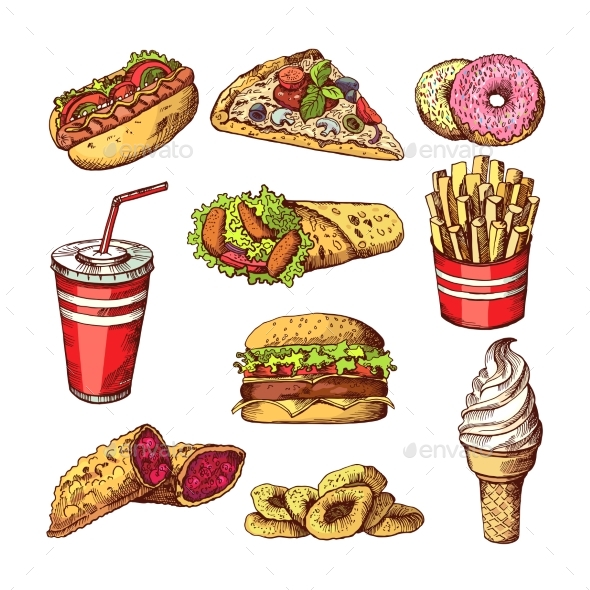 Fast Food Pictures. Burgers, Cola Sandwich Hotdog - Food Objects