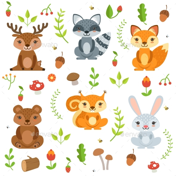 Funny Forest Animals and Floral Elements Isolate - Animals Characters