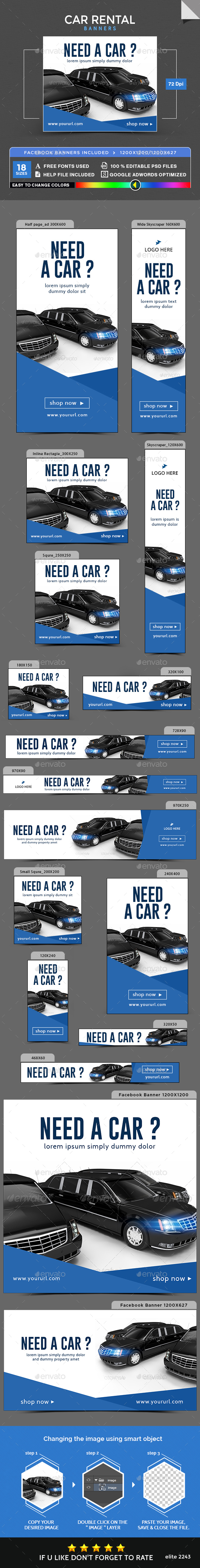 Car Rental Banners - Banners & Ads Web Elements