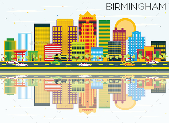 Birmingham Skyline with Color Buildings, Blue Sky and Reflections. - Buildings Objects