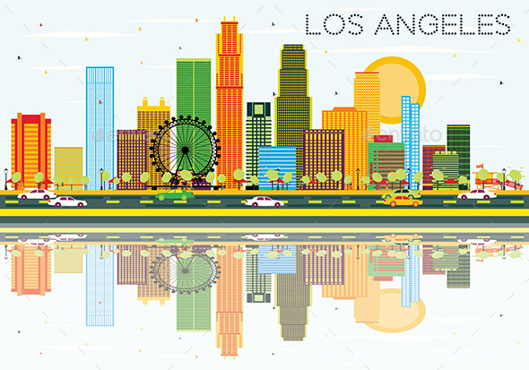 Los Angeles Skyline with Color Buildings, Blue Sky and Reflections. - Buildings Objects