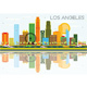 Los Angeles Skyline with Color Buildings, Blue Sky and Reflections.