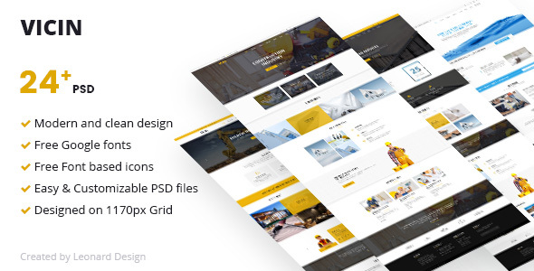 Vicin | Multipurpose Construction & Plumbing PSD Template - Corporate PSD Templates