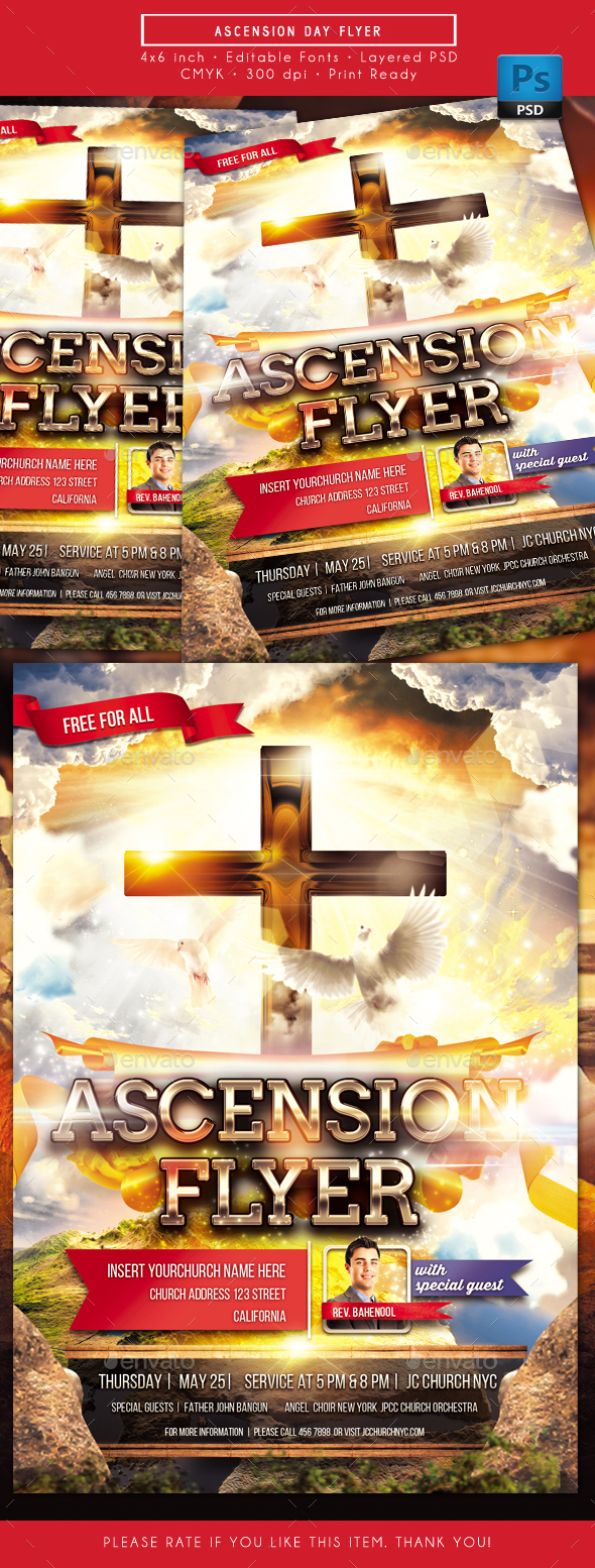 Ascension Day Church Service Flyer - Church Flyers