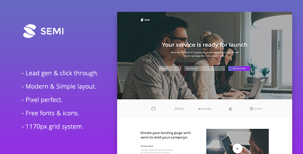 Semi – Service Landing Page Responsive Muse Template