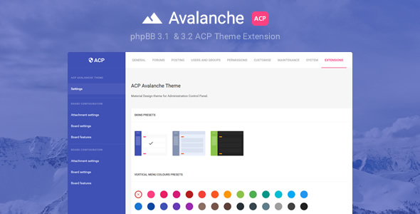 Avalanche - Material Design phpBB3 ACP Theme Extension - CodeCanyon Item for Sale
