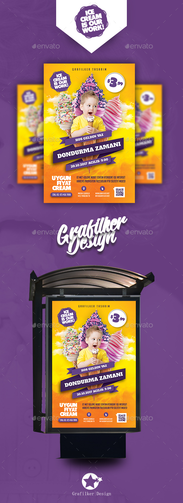 Ice Cream Poster Templates - Signage Print Templates