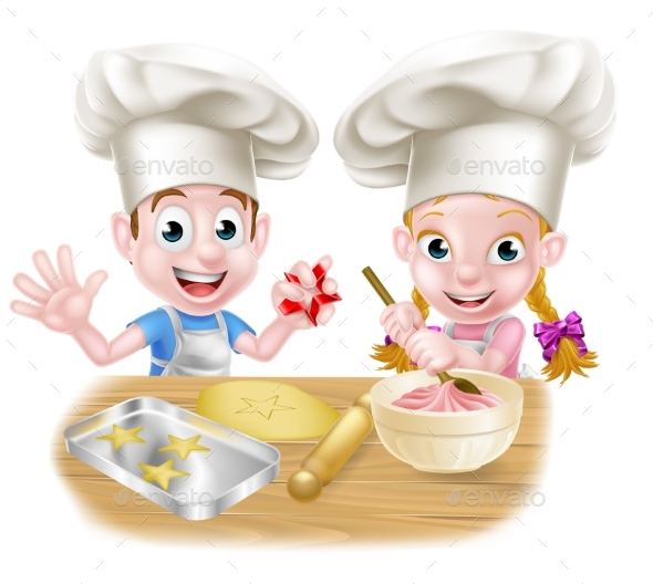 Cartoon Chef Kids Baking - Food Objects