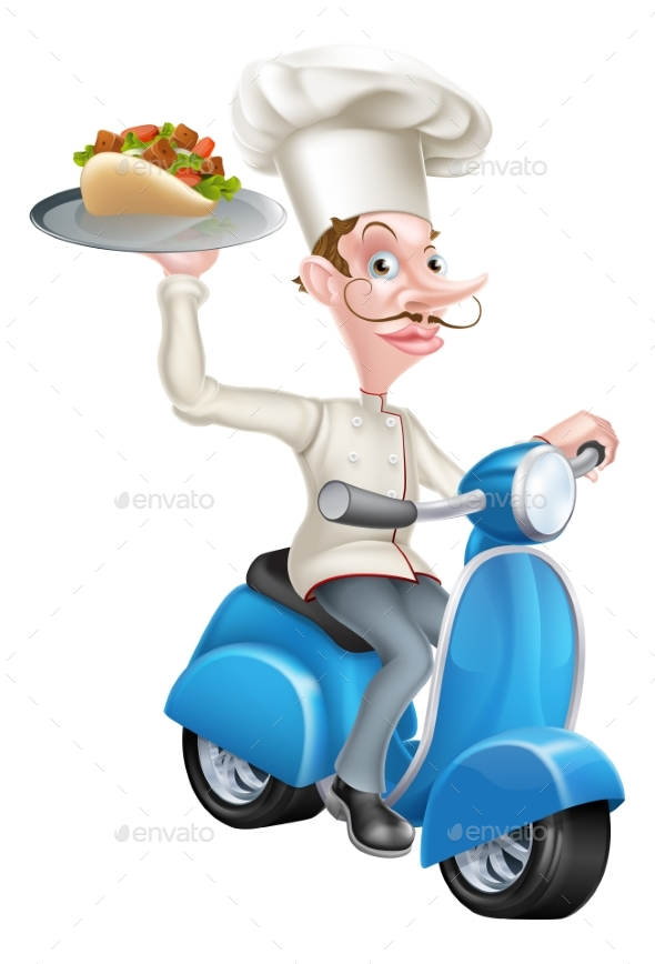 Chef on Scooter Moped Delivering Gyro Kebab