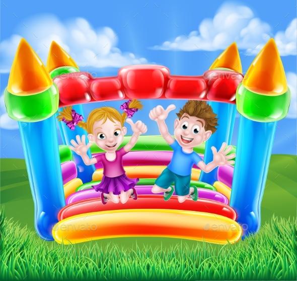 Cartoon Kids on Bouncy Castle - Landscapes Nature