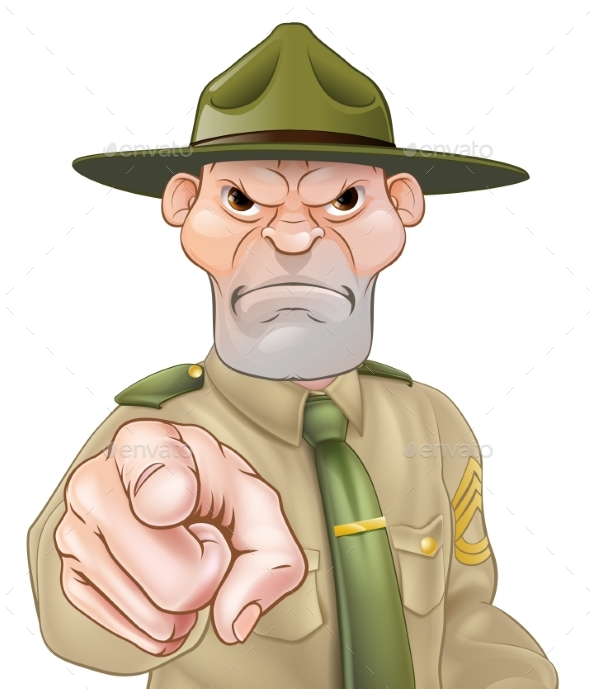 Drill Sergeant Pointing - Animals Characters